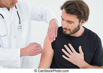 dottore, giovane, paziente, iniettare, maschio, braccio