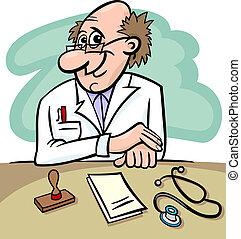 dottore, in, clinica, cartone animato, illustrazione
