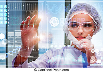 dottore, in, futuristico, concetto medico, bottone urgente