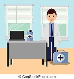 dottore, in, stanza consulente, con, scrivania, laptop, medicina, e, kit, pronto soccorso