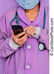 dottore, lavorando, telefono mobile