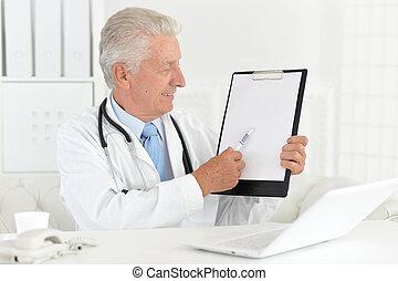 dottore, lavorativo, laptop