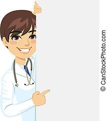 dottore maschio, sbirciando