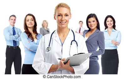 dottore medico, giovane, woman.