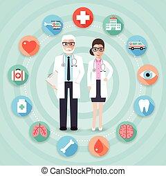 dottore medico, ospedale, icone