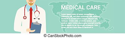 dottore, medico, su, illustrazione, vettore, fondo, chiudere, stethoscope.