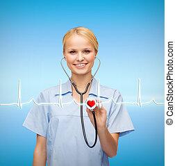 dottore, o, stetoscopio, femmina, sorridente, infermiera
