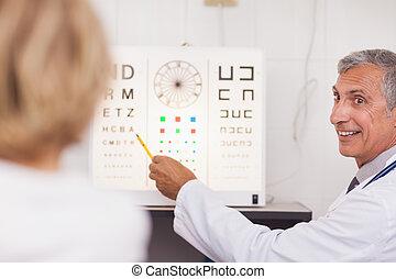 dottore, ospedale, paziente, prova, occhio