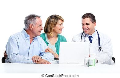 dottore paziente, anziano, coppia.