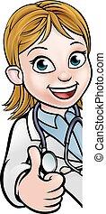 dottore, pollici, cartone animato, carattere, segno