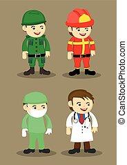 dottore, pompiere, illustrazione, soldato, vettore, chirurgo