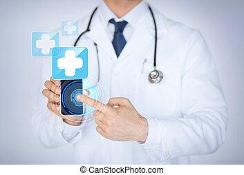 dottore, presa a terra, smartphone, con, medico, app