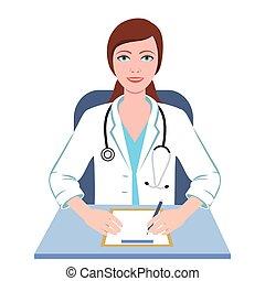 dottore, professionista, femmina, illustrazione, generale