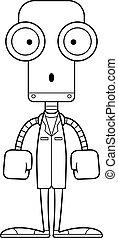 dottore, robot, sorpreso, cartone animato