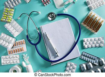 dottore, scrivania, posto lavoro, stetoscopio, quaderno spirale