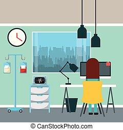 dottore, seduta, lavorativo, in, scrivania, con, laptop, lampada, macchina, iv, salino, sangue, e, finestra