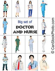 dottori, set, medico, nur, grande
