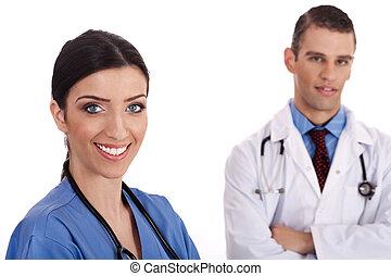 dottori, su, ritratto, chiudere, sorridente