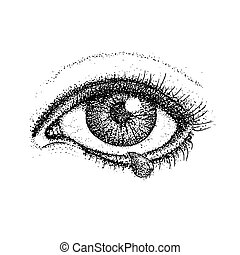 Dotwork Crying Eye. Vector Illustration of Human Vision and Tear Drop. Tattoo Hand Drawn Sketch.
