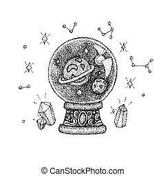 Dotwork Glass Ball with Space
