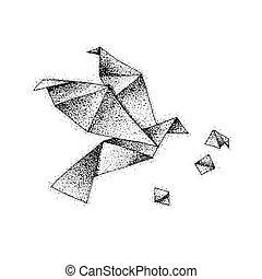 Dotwork Origami Bird