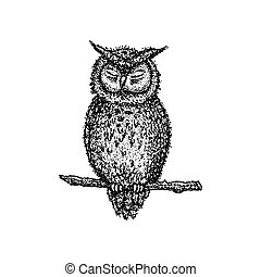 Dotwork Sleeping Owl. Vector Illustration of T-shirt Design...