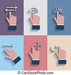 dotyk, devices., gest, ikony