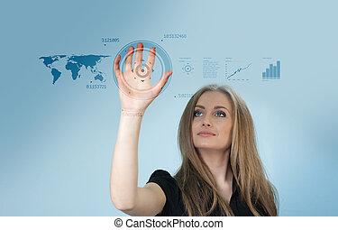dotyk, interfejs, -, przyszłość, zbiór