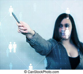 dotyk, obchodnice, síť, společenský