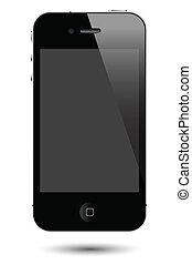 dotyk, smartphone, wektor, ekran