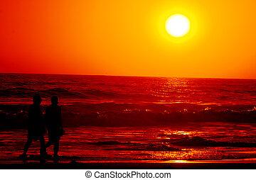dotyk, zachód słońca