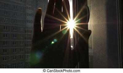 dotyka, promienie, gry, słońce, ręka, samica, sun's
