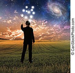 dotyka, tworzenie, concepttualizes, niebo, falistość,...