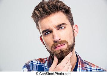 dotykanie, jego, człowiek, broda