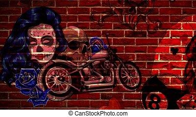 douane, signe, signe., neon., motocyclette, ville