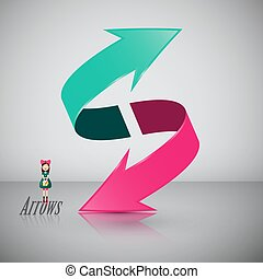 Double 3D Arrow Symbol with Girl. Vector Icon.