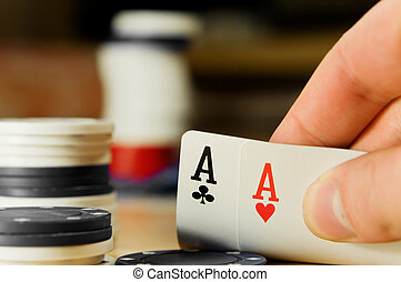Poker concept...A player with double aces...