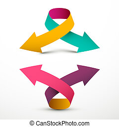 Double Arrow Logo Symbol. Up and Down Vector 3d Arrows.