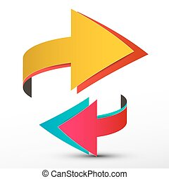 Double Arrows Set - Paper Vector 3D Logo - Logotype Symbols