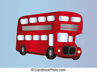 Decker, double, autobus. Double, illustration, decker ...