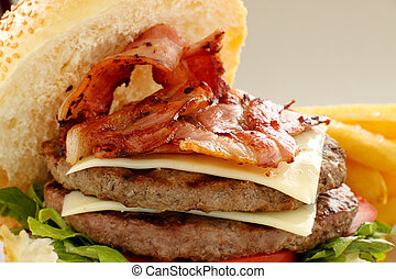 Double Bacon And Cheese Burger - Double decker hamburger ...