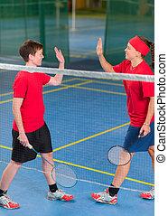 double, badminton