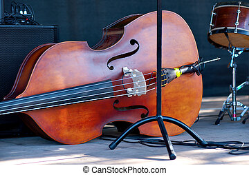 Double bass - Close up of double bass on stage