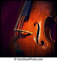 Double bass - Close-up of double bass, wooden musical ...