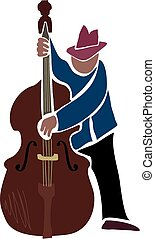 An illustration of a man playing a double bass