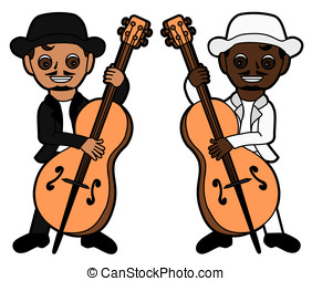 Double bass players isolated on a white background