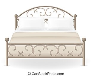 double bed furniture vector illustration