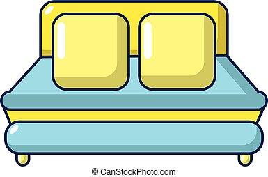 Double bed icon, cartoon style