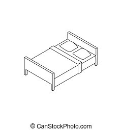 Double bed icon, isometric 3d style