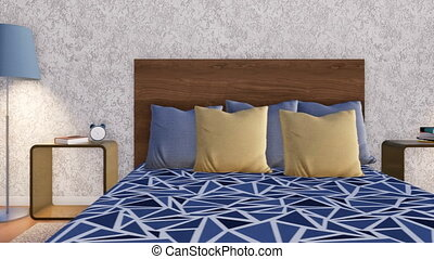 Double bed in minimalist bedroom interior close-up